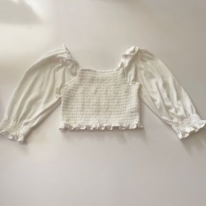 Urban Outfitters White Shirred On/Off Shoulder Top
